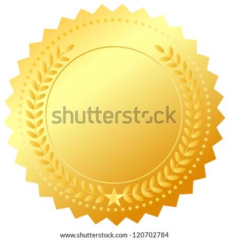 Vector golden award emblem - stock vector