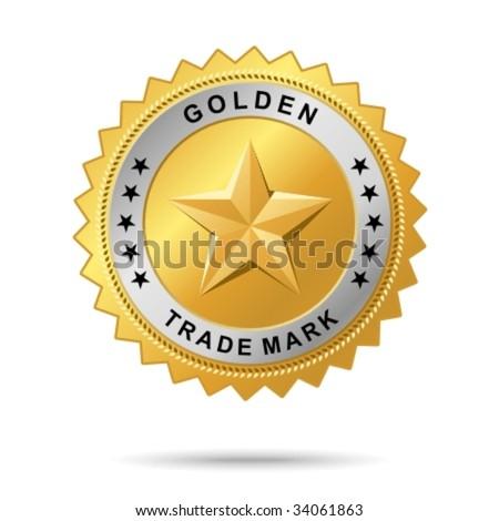 "Vector golden badge named ""Golden trade mark label"" for your business artwork - stock vector"