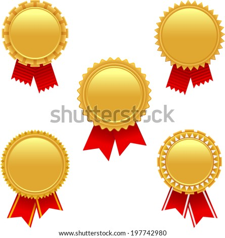 vector golden badges with red ribbons - Separate layers for easy editing - stock vector
