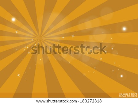 Vector golden burst scene - Vector flares and glitters background blast design illustration - stock vector
