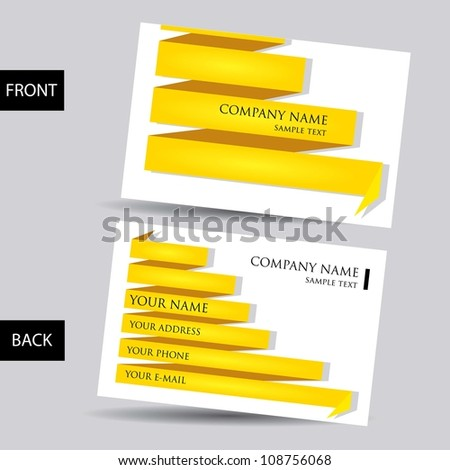 vector golden business card set. origami background. - stock vector