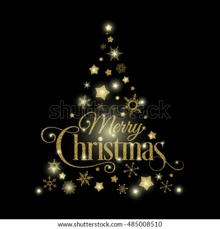 Vector golden Christmas tree illustration made with glittering stars, snowflakes and Merry Christmas typography. Light effects can be turned off