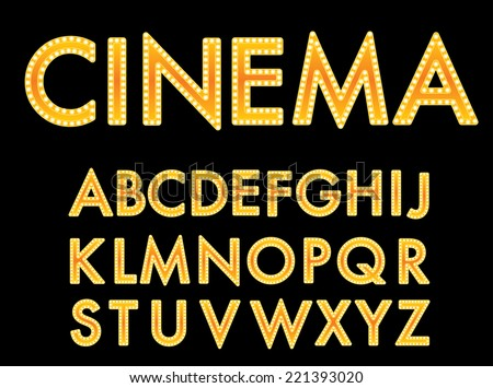 Vector golden cinema font. - stock vector