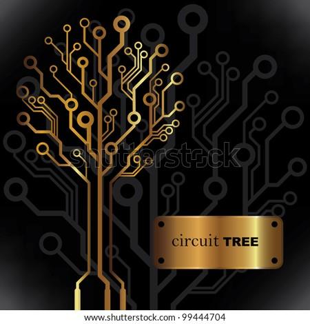Vector golden circuit tree background - stock vector