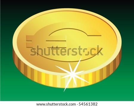 vector golden coin with a sparkle - stock vector