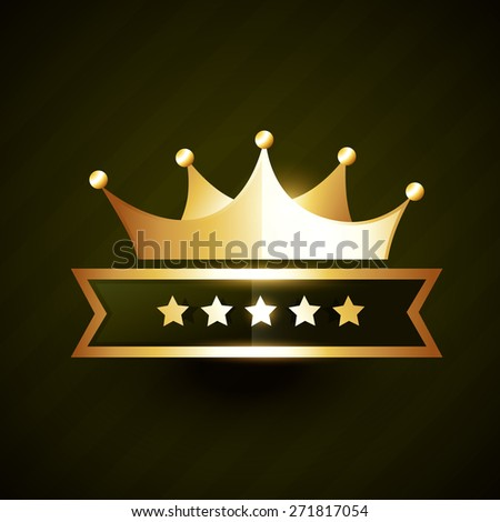 vector golden crown badge design with five stars - stock vector