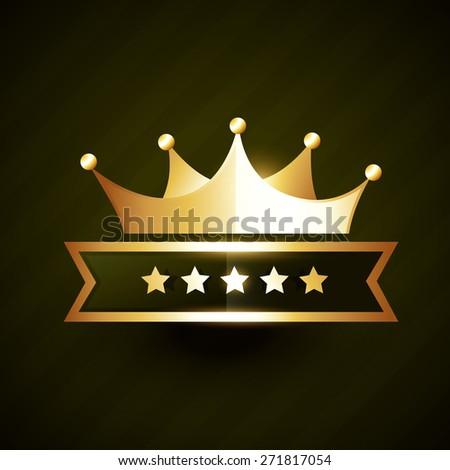 vector golden crown badge design with five stars - stock vector