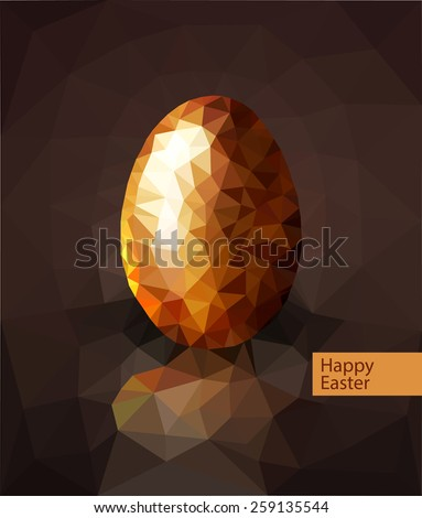 vector golden egg from the mosaics (triangles) for Easter  - stock vector