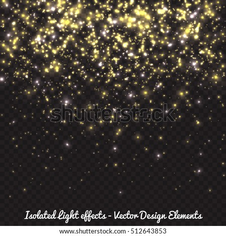Vector golden falling lights effect, sparkling stars, glitter particles in dark background for festive celebrations - New year, christmas, birthday