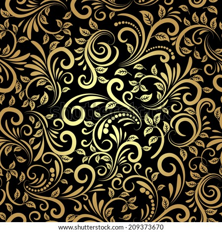 vector golden floral seamless pattern in retro style - stock vector