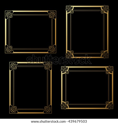 Vector golden frames on black background. Decoration rectangle frames for your photo. Decorative border.