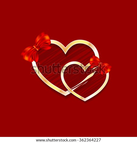 Vector golden hearts, frames with beauty red background. Valentine day illustration