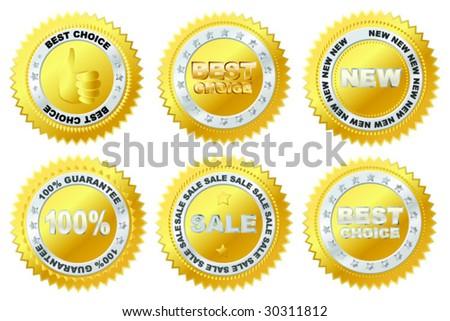 Vector golden label. - stock vector