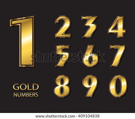 Vector golden numbers. Set of gold numbers.