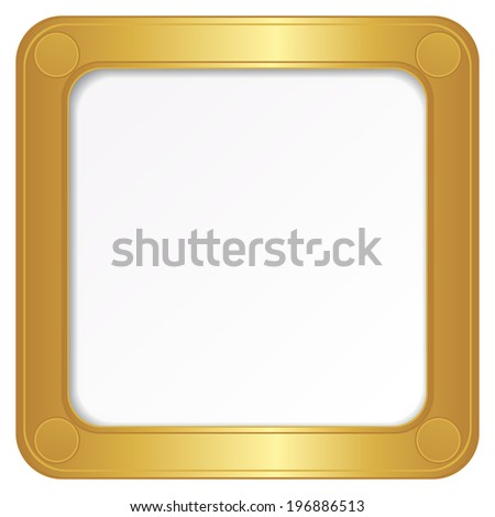 Vector golden photo frame on the white background