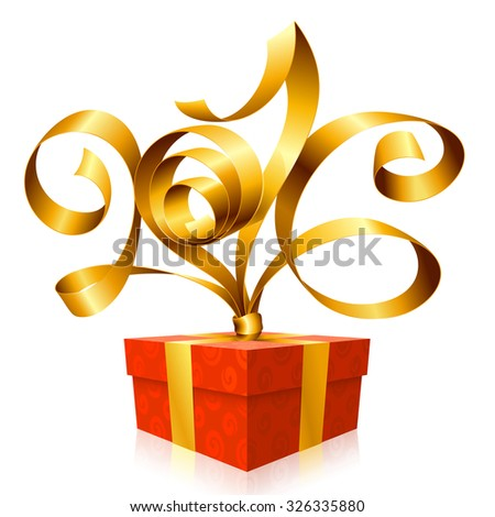 Vector golden ribbon and red gift box. Symbol of New Year 2016 - stock vector