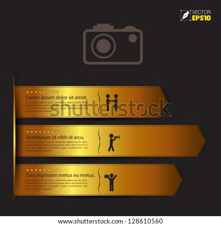 Vector golden ribbon with  icons / can use for infographic  / modern template / education template / business brochure - stock vector