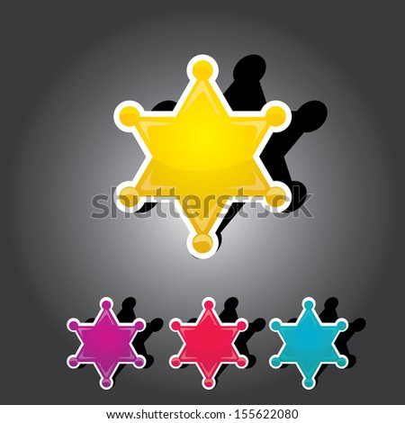 vector golden sheriff star on black background. Sheriff's badge set - stock vector