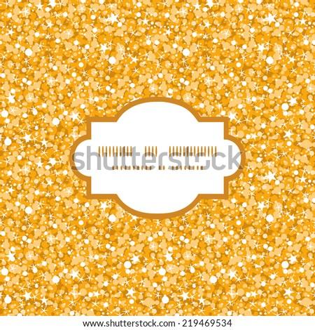Vector golden shiny glitter texture frame seamless pattern background - stock vector