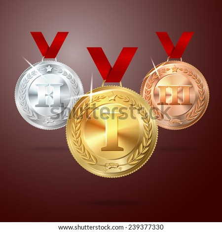 Vector Golden, Silver and Bronze medal ser with red ribbons, on red background. vector - stock vector