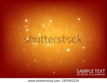 Vector golden  space flares design template - Shiny orange  glittering  design background  illustration - stock vector