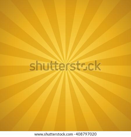 Vector golden sunburst background - stock vector