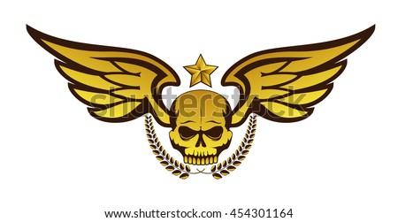 Vector golden tattoo or logo with skull, wings, laurel wreath and star. Isolated on white background. Design for air force, biker or MMA fighter print - stock vector