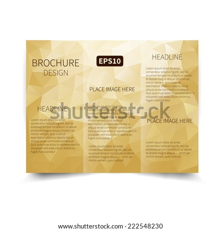 Vector golden tri-fold brochure design template with abstract geometric background with triangles EPS 10  Tri-Fold Mock up & back Brochure Design - stock vector