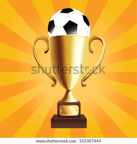 vector golden trophy with a ball on top - stock vector