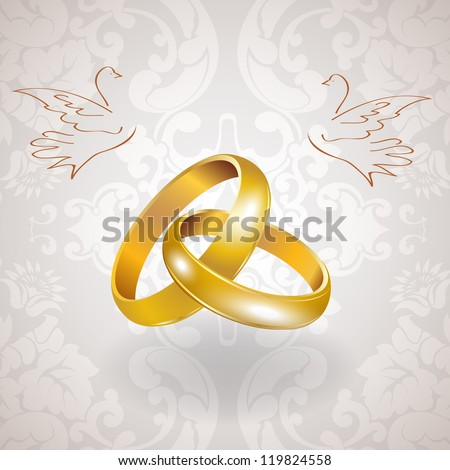 Vector golden wedding rings - stock vector