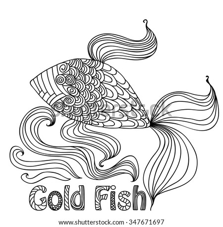 vector Goldfish with a beautiful ornament to paint on a white background