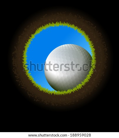 Vector golf ball near hole. Inside view from below. - stock vector
