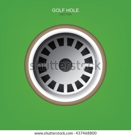 Vector golf hole on green background of golf course. - stock vector