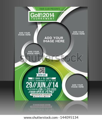 Vector Golf Tournament Brochure, Flyer, Magazine Cover & Poster Template - stock vector