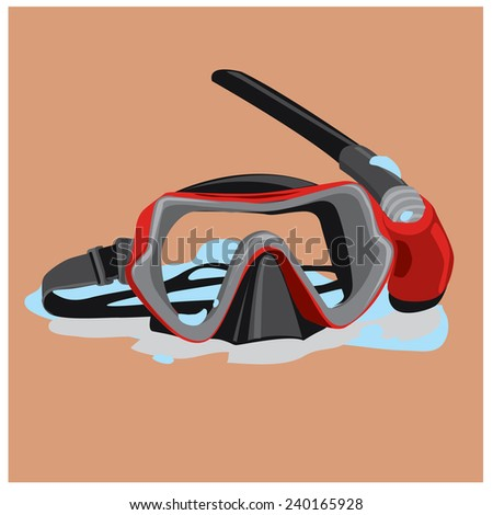 vector google mask for diving - stock vector