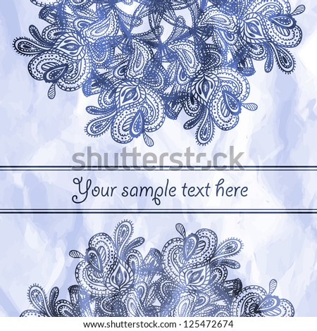 Vector gorgeous ornate hand drawn invitation or greeting card
