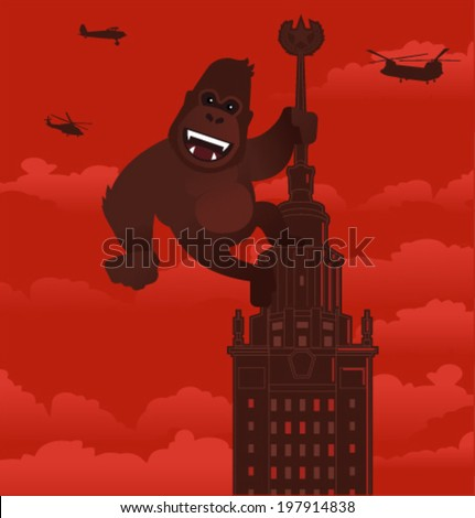 Vector gorilla on a skyscraper - stock vector