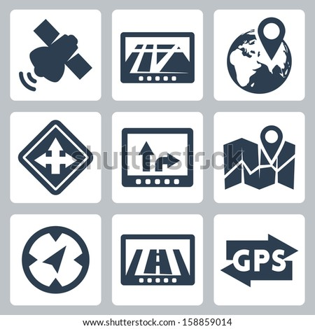 Vector GPS and navigation icons set - stock vector