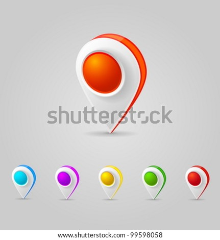 Vector GPS Color Map Icons - stock vector