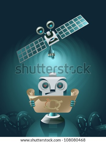 Vector GPS Navigator lost in the road and GPS Satellite showing him the way - stock vector