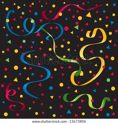 Vector gradient streamers with confetti in bright party colors on a black background - stock vector