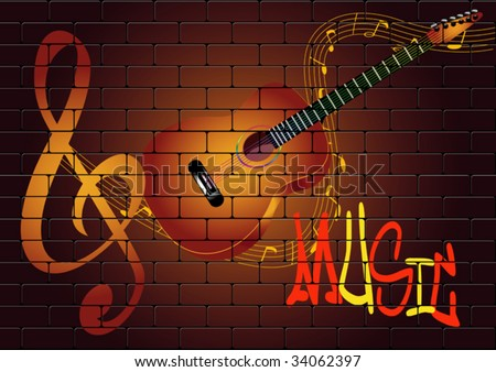 vector graffiti with guitar - stock vector