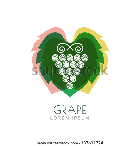 Vector grape vine and leaf, negative space logo design template. Colorful trendy illustration. Concept for nature organic products, fruits, vegetables market, harvest, healthy food, wine list, menu. - stock vector
