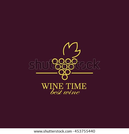 Vector grape vine and wine bottles, negative space logo design template. Colorful trendy illustration. Concept for wine list, bar menu, alcohol drinks, wine label. - stock vector