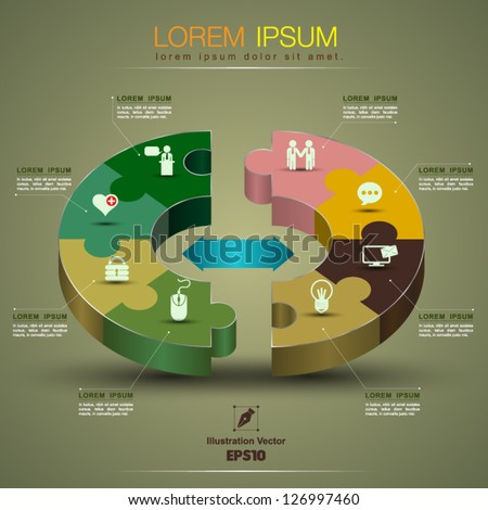Vector graph circle 3D jigsaw puzzle / loop business report or plan / modern template /  education template / business brochure