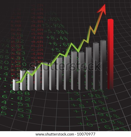 Vector - Graph showing rise in profits or earnings in 3D with drop shadow.