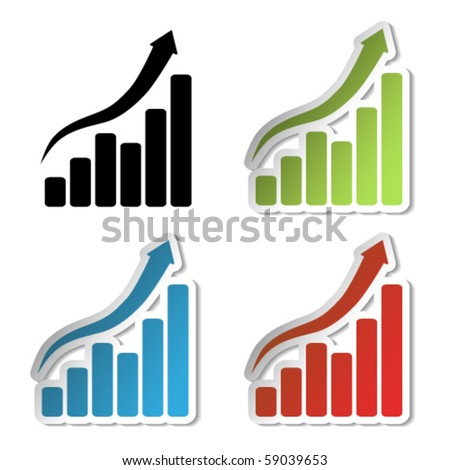 Vector graph stickers - stock vector