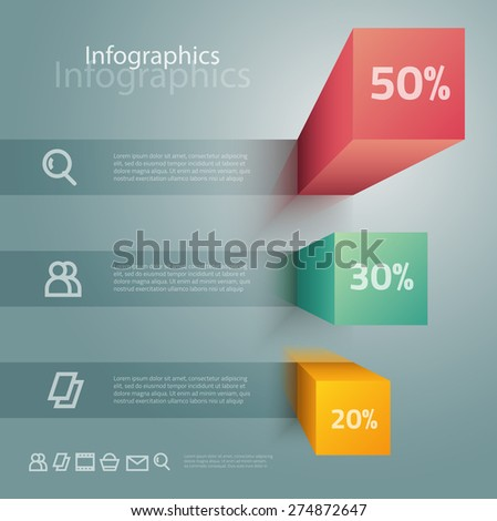 Vector graphic abstract info-graphics with icons in vibrant colors