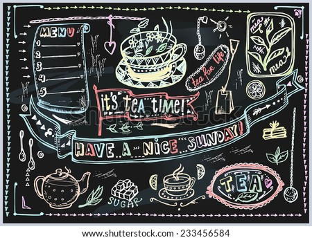 Vector graphic, artistic, stylized image of Tea set graphic element for menu on blackboard. Black chalkboard with chalk traces.  - stock vector