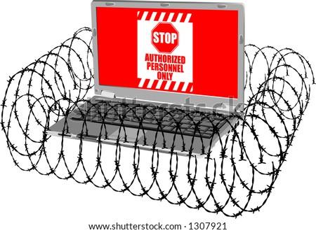 vector graphic depicting a laptop computer (concept: computer security) - stock vector